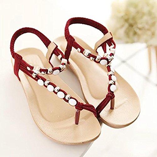 Hunpta Frauen flache Schuhe Perlen Böhmen Freizeit Sandalen Peep-Toe Flip Flops Schuhe Rot