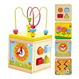 Baiyu 5 In 1 Colorful Around Wooden Bead Frame Toys Multifunctional Box Educational Clock Block Mini Bead Educational Toys for Baby & Toddler