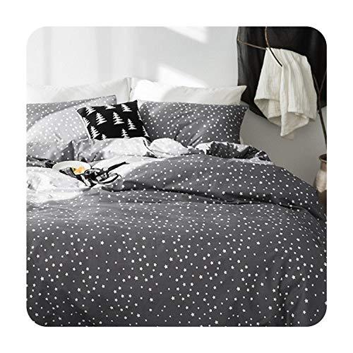 (Grey Star 100% Cotton Cute Kids Twin Bedding Set Queen King Double Size Bed Set Duvet/Quilt Cover Bed Sheet Set Soft Bedlinens,1,Twin Size 3pcs)