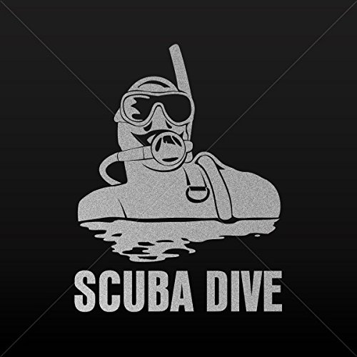 (Decal Diver Diving Scuba Car Door Hobbies Sports car Durable Silver-Matte (14 X 10.8 Inches))