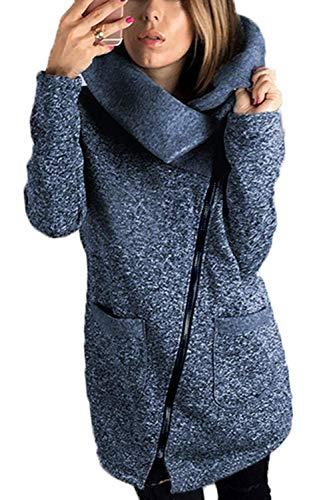 Manteau Femme Printemps Automne Longues Coat Elgante Young Styles Unicolore Fashion Manches Longues Col Roul avec Poches Slim Fit Outerwear Vtements D'Extrieur Bleu