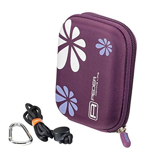 PEDEA Kameratasche für für Canon IXUS 255, 170, 155, 140, 132 / Sony DSC-WX220 / MEDION LIFE E44050 mit Displayschutzfolie, lila