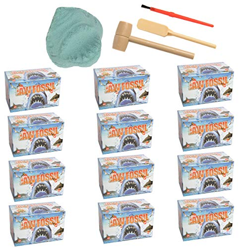 Barry-Owen Co. 12 Pack Shark Jaw Fossil Dig Toy Tools Reveal Mini Animals Or Real Teeth Archaeology Educational for Kids (Tiger Jaw Tools)