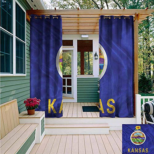 Beihai1Sun Outdoor Grommet Top Curtain Panel,American State Flag Kansas Farming,for Patio/Front Porch,W84x108L