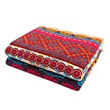"""indian room decor Exclusivo Mezcla Luxury Reversible 100% Cotton Exotic Boho Stripe Quilted Throw Blanket 60"""" x 50"""" Machine Washable and Dryable"""