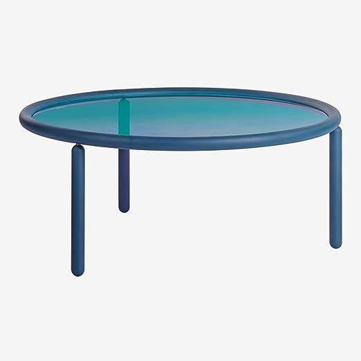 SKLUM Mesa de Centro Iridiscente Disk Acero - Cristal Azul Klein ...