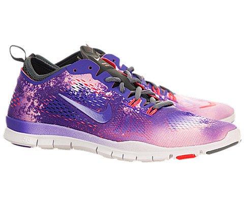 Nike Women's Free 5.0 TR Fit 4 Prt White/Prpl Vnm/Lsr Crmsn/Anthr Training Shoe 7.5 Women US