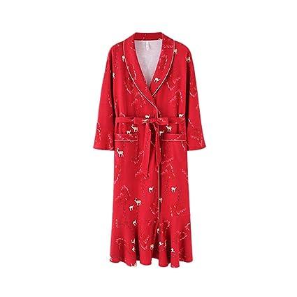 Pijamas Pareja Mujer Primavera Y Otoño Algodón Rojo Vestido De Boda De Manga Larga Toga Mejor