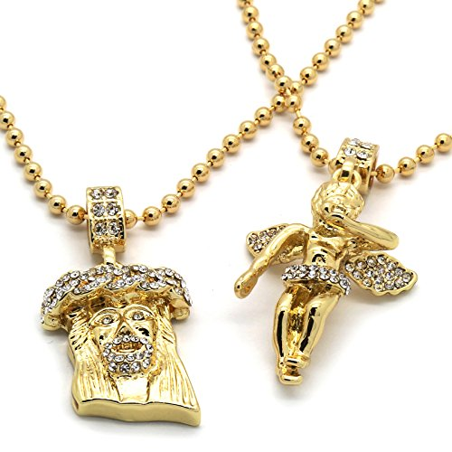 Mens Gold Plated Jesus Angel Piece Combo Set Iced Out Cz Pendant 3mm 27