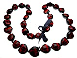 Hawaiian Style Kukui Nut Lei, Hand Painted Red Turtle 32 Inches