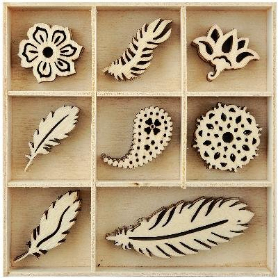 Themed Mini Wooden Flourishes 40/pkg-feather