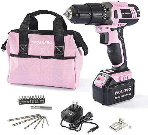 WORKPRO Pink Cordless 20V Lithium-ion Drill Driver Set 1.5Ah ,1 Battery, Charger and Storage Bag Included