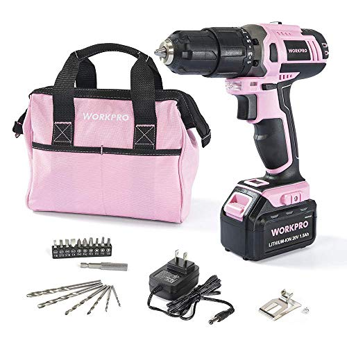 WORKPRO Pink Cordless 20V Lithium-ion Drill Driver Set (1.5Ah),1 Battery, Charger and Storage Bag Included (Best Power Tool Brand For Home Use)