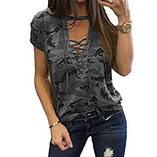 Women's Short Sleeves Camouflage Lace-up Casual Top Sexy Hollow Lace Up Shirt (XL, Grey)