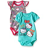Hello Kitty Baby 2 Pack Bodysuit with Allover Animal Print, Fuchsia Purple, 6-9 Months