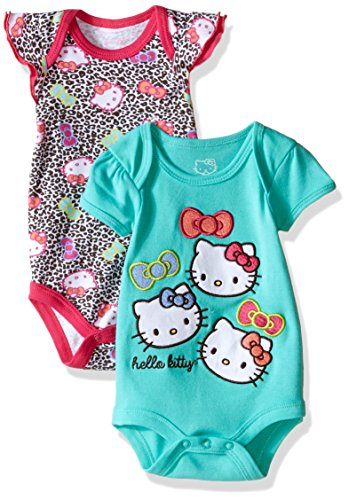 Hello Kitty Baby Girls 2 Pack Bodysuit with Allover Animal Print