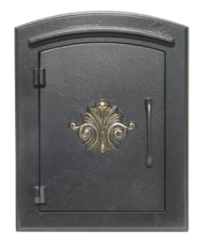 - QualArc MAN-1401BL Manchester Column Mount Mailbox with Decorative Scroll Door in Black