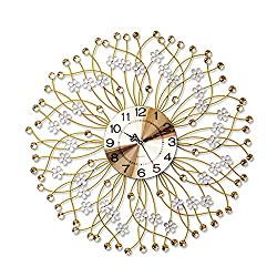HONGLIAN Quartz Clock Wall Clock European Modern Minimalist Foreign Trade Decoration Mute Clock Art Wall Charts (Color : Brushed Aluminum Plate Silver dial)