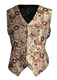 Gold Waistcoat Red Flower Pattern