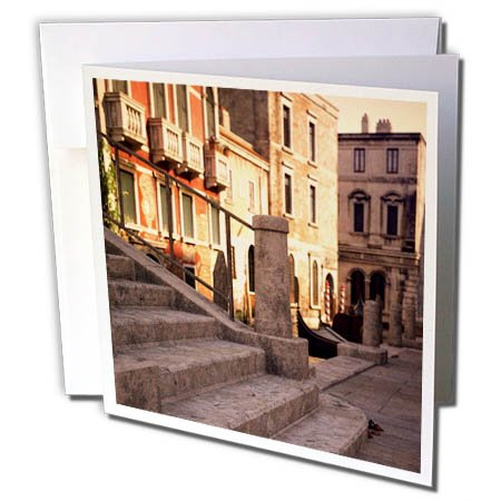 3dRose Boehm Graphics Travel - Steps Along a Venetian Canal - 6 Greeting Cards with Envelopes (gc_282404_1)