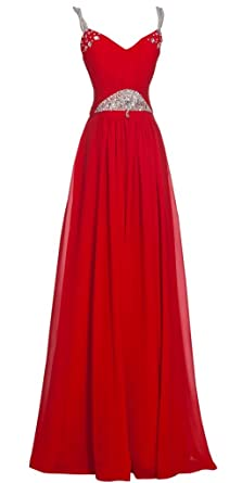 PrettyDresses Womens a Line Red Long Prom Dresses with Lace up Back ...