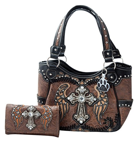 HW Collection Western Rhinestone Cross with Wings Stitching Concealed Carry Handgun Handbag and Crossbody Wallet (Brown)