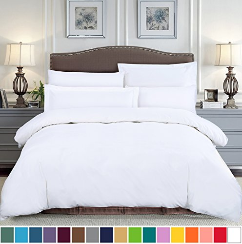 Duvet 100% Cotton Cover (SUSYBAO 100% Natural Cotton 2 Pieces Duvet Cover Set Twin / Single Size 1 Duvet Cover 1 Pillow Sham Solid White Hotel Quality Soft Breathable Comfortable Fade Stain Wrinkle Resistant with Zipper Ties)