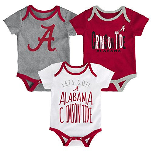 Gen 2 NCAA Alabama Crimson Tide Newborn & Infant Little Tailgater Bodysuit, 0-3 Months, Victory (Ncaa Baby Clothing)