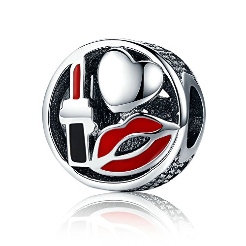 Everbling Women Stiletto High Heel Lady Shoe Sexy Glamour Kiss Lipstick 925 Sterling Silver Bead For European Charm Bracelet (Lipstick)