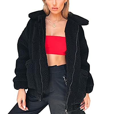 PRETTYGARDEN Women's Fashion Long Sleeve Lapel Zip Up Faux Shearling Shaggy Oversized Coat Jacket with Pockets Warm Winter at Women's Coats Shop