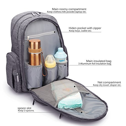 coolbell baby diaper backpack with insulated pockets large size water resistant baby bag. Black Bedroom Furniture Sets. Home Design Ideas
