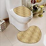 vanfan 2 Piece Toilet Cover set Damask Patterns Weaving Byzantine Islamic AnLace Floral Motifs Nostalgic Non-slip Soft Absorbent Heart shaped foot pad