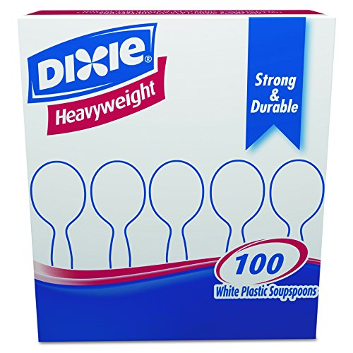Dixie SH207CT Plastic Cutlery, Heavyweight Soup Spoons, White, Box of 100 (Case of (Plastic Cutlery Case)