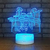 Cable Drum Coffee Table Cute Smart Touch Drum 3D Remote Control Optical Illusion Night Light Crackle Paint Base Table Desk Lamps 7 Colors Change Glow LED Art Sculpture Beside Lights Lighting Effects Birthday