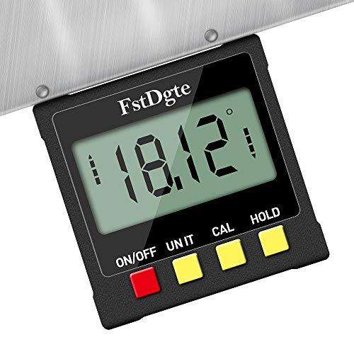 Buscador de ángulos digitales de calibre biselado, medidor de ángulo digital, caja de nivel Protractor Inclinómetro con...