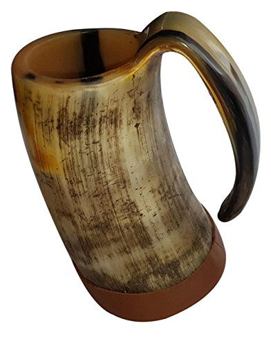 Most Popular In U.S. & U.K. Handcrafted XL Handmade 6 Inch Game of Thrones style Drinking Mug Viking Tankard with lather strips around bottom