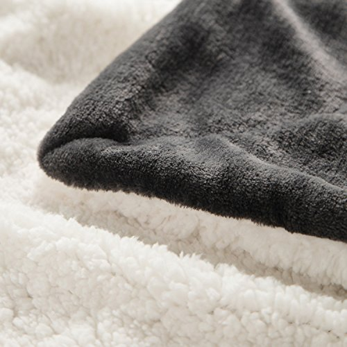 Bedsure Sherpa Throw Blanket Charcoal Throw size 50x60 Bedding Fleece Reversible Blanket for Bed and Couch