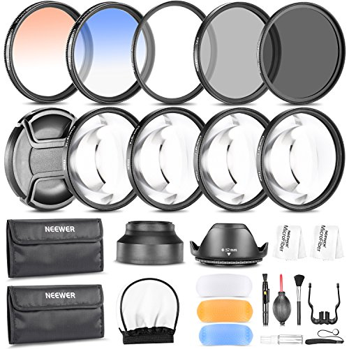 Neewer 52MM Photography Accessory Kit: Filter Set(UV+CPL+ND8)+Close-up Filter(+1/+2/+4/+10)+Graduated Color Filter+Cleaning Set+Diffuser Set+Tulip/Collapsible Lens Hood +Lens Cap+Filter Pouch from Neewer
