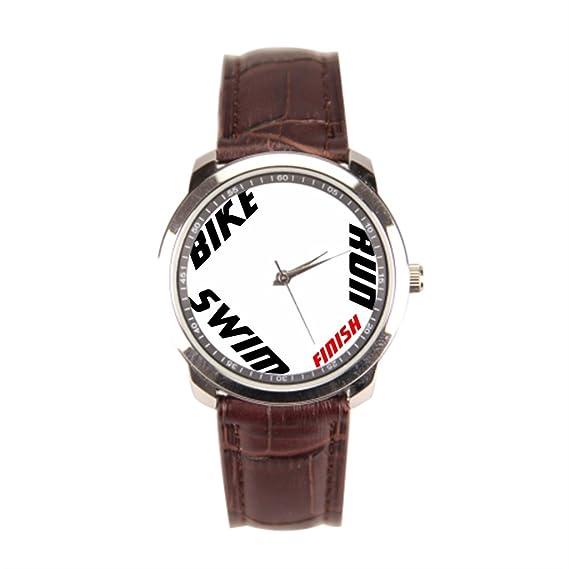 sjfy Vintage correa de piel correas deporte triatlón para hombre relojes con correa de cuero: Amazon.es: Relojes