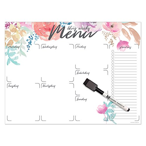 """Modern Magnetix Weekly Menu Whiteboard Magnetic Dry Erase Calendar And Planner For Refrigerator   Multiple Designs To Choose   16"""" x 12"""" To Fit All Fridge Styles   With Magnetic Dry Eraser Marker"""