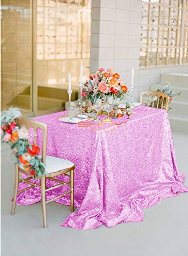 Sequin Tablecloth 50x50-Inch Lavender Sequin Table Cloth Wedding Cake Table Cover Sequined Embroidery Glitter Tablecloth Lavender Sequin Rectangular Tablecloth -P0409]()