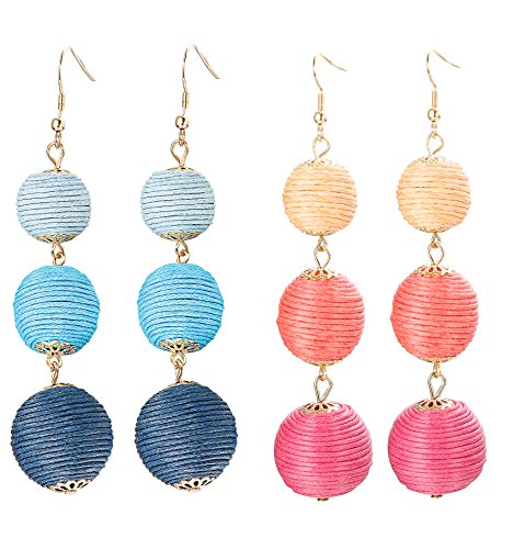 ORAZIO 1-2 Pairs Long Tassel Earrings For Women Girl Beaded Fringe Dangle Ear Drops (H:2 Pairs,Blue+Red) ()