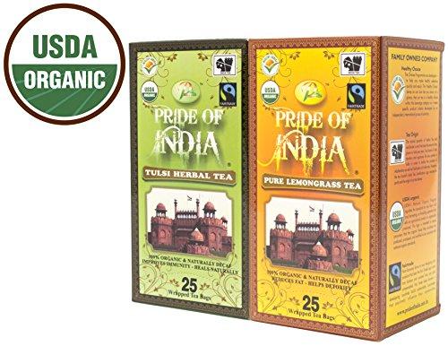 Tea Original Tulsi (Pride Of India - Organic Herbal Decaf Tea Combo Pack - Tulsi Holy Basil & Lemongrass Tea)