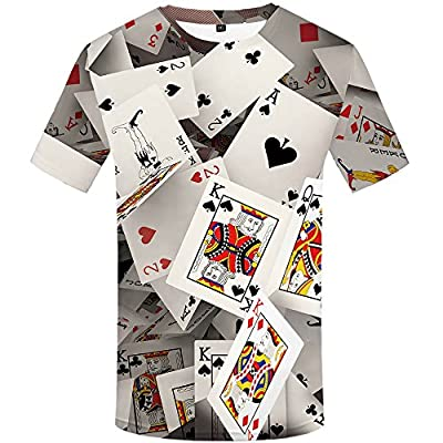 KYKU Funny Poker T Shirt Unisex Casual 3D Print Short Sleeve T-Shirt Tees
