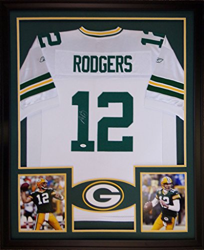 Aaron Rodgers Autographed Jersey (Aaron Rodgers Framed Jersey Signed JSA COA Autographed Green Bay)
