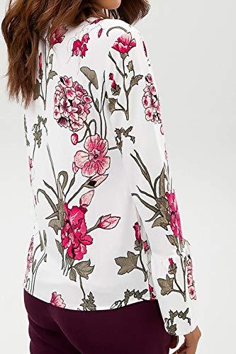 Manches Tops Mousseline Chemises Pull Femmes Chemise De Floral Soie Flare Blouse Blanc qtwUUvOF