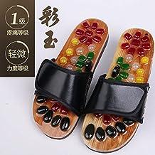 2 Pairs Cobblestone Foot Massage Slippers Acupoint Pedicure Shoes Bathroom Antiskid Slippers,39-40,Jade Magic Black