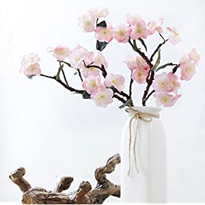 Skyseen 3PCS Artificial Sakura Flower Fake Cherry Blossom Plant for Home Decoration,Pink 84