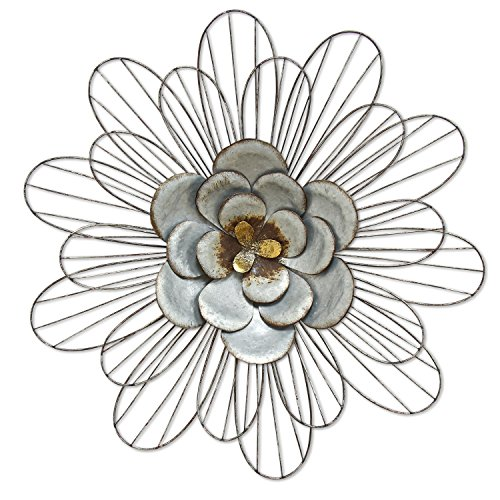 Galvanized Flower - Stratton Home Decor S07658 Galvanized Daisy Wall Decor, Silver