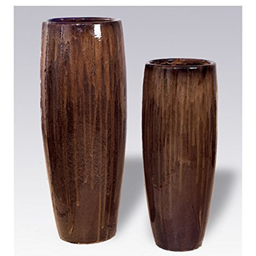Tall Cylinder Ceramic Planter - Java Brown